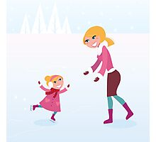 Christmas ice skating: Mother and daughter Photographic Print