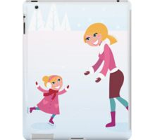 Christmas ice skating: Mother and daughter iPad Case/Skin