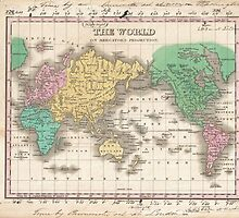 Vintage Map of The World (1827) by BravuraMedia