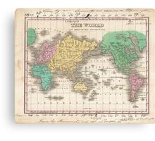Vintage Map of The World (1827) Canvas Print
