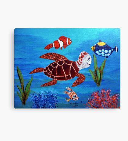 Swimming the sea Canvas Print