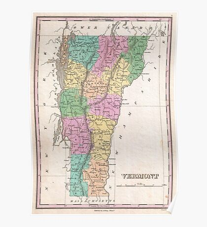 Vintage Map of Vermont (1827) Poster