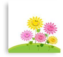 Happy Spring Flower Garden. Vector Illustration Canvas Print