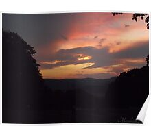 Fiery Sunset with Cows Poster