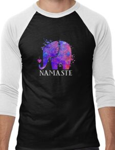 Namaste Elephant Peaceful Watercolor Men's Baseball ¾ T-Shirt