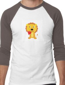 Cute little lion with red heart isolated on white Men's Baseball ¾ T-Shirt