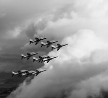 Cloud riders: the Red Arrows black and white version by Gary Eason + Flight Artworks