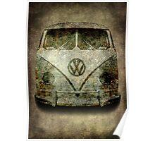 Classic VW bus illustration Poster