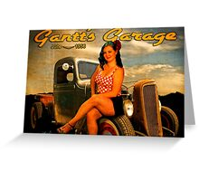 1956 Pinup Calendar Page from Gantt's Garage Greeting Card