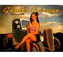 1956 Pinup Calendar Page from Gantt's Garage Photographic Print