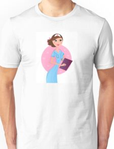 Smiling sexy brown hair nurse / pink and blue original gift for Nurses Unisex T-Shirt