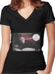 """'Count Orlock, the Vampire #4', FROM THE FILM """" Nosferatu vs. Father Pipecock & Sister Funk (2014)"""" Women's Fitted V-Neck T-Shirt"""