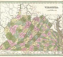 Vintage Map of Virginia (1838)  by BravuraMedia