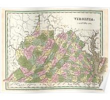Vintage Map of Virginia (1838)  Poster
