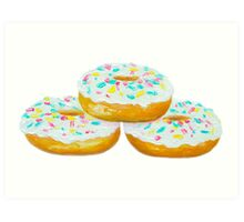 Three Delicious Donuts Art Print