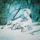 """Outdoorsman Sinking in Snowstorm""... prints and products by © Bob Hall"