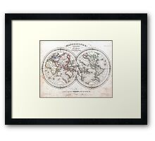 Vintage Map of The World (1848)  Framed Print