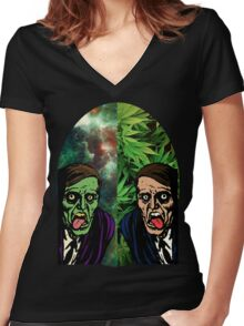 2 Faced Women's Fitted V-Neck T-Shirt