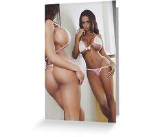Curves at mirror, sexy latina posing Greeting Card