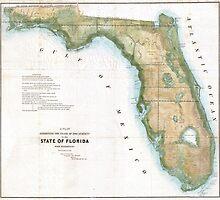 Vintage Map of Florida (1848)  by BravuraMedia
