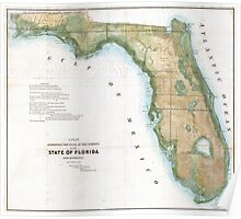 Vintage Map of Florida (1848)  Poster