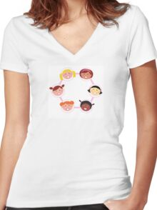 Girls circle : Woman IT Crowd fashion illustration by Guothova Women's Fitted V-Neck T-Shirt