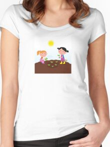 Two happy kids watering and planting plants in the garden Women's Fitted Scoop T-Shirt