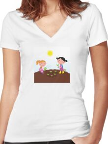 Two happy kids watering and planting plants in the garden Women's Fitted V-Neck T-Shirt