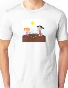 Two happy kids watering and planting plants in the garden Unisex T-Shirt