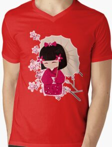 Sakura Kokeshi Doll Mens V-Neck T-Shirt