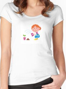 Small girl is watering plant in the garden Women's Fitted Scoop T-Shirt