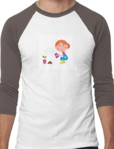 Small girl is watering plant in the garden Men's Baseball ¾ T-Shirt