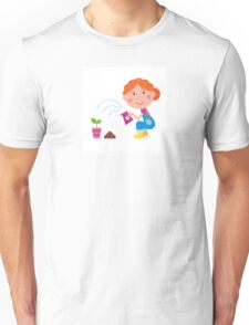 Small girl is watering plant in the garden Unisex T-Shirt