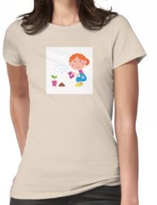 Small girl is watering plant in the garden Womens Fitted T-Shirt