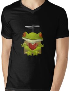 Glitch NPC Inhabitants Yoga Frog Red Mens V-Neck T-Shirt