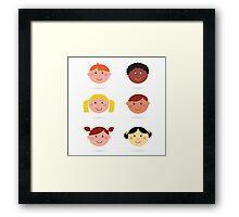 Original hand-drawn kids illustration / multicultural theme Framed Print