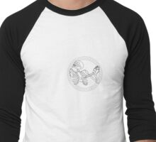 Dancing Skull White/Black Men's Baseball ¾ T-Shirt
