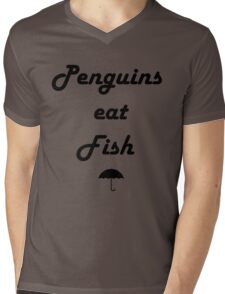 Penguins Eat Fish Mens V-Neck T-Shirt