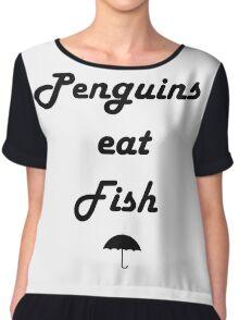 Penguins Eat Fish Chiffon Top
