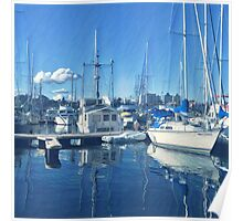 Blue Water Blue Sky Harbour  Poster