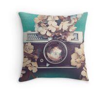 Camera & Hydrangea Throw Pillow