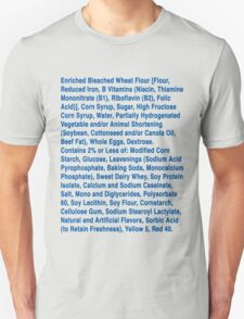 Twinkie ingredients (blue text on light color shirts) T-Shirt