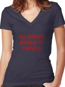 The People's Republic of Portland (red letters) Women's Fitted V-Neck T-Shirt
