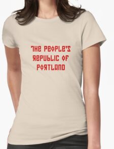The People's Republic of Portland (red letters) Womens Fitted T-Shirt