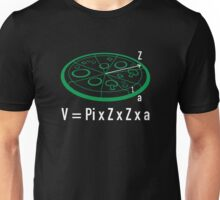 Pizza Equation : V = Pi x Z x Z x a Unisex T-Shirt