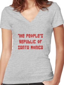 The People's Republic of Santa Monica (red letters) Women's Fitted V-Neck T-Shirt