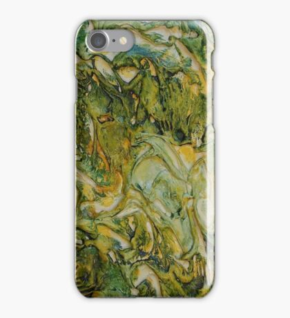 ABSTRACT GREEN AND YELLOW MOODY WAVES  iPhone Case/Skin