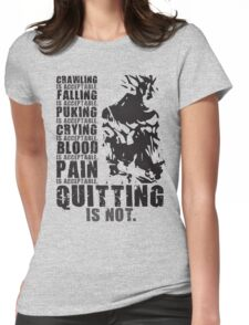 Quitting Is Not Acceptable (Ripped Saiyan Back) Womens Fitted T-Shirt