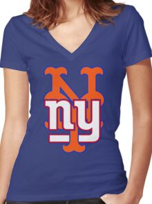 new york sports Women's Fitted V-Neck T-Shirt