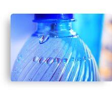Blue Bottle/Water Drops Canvas Print